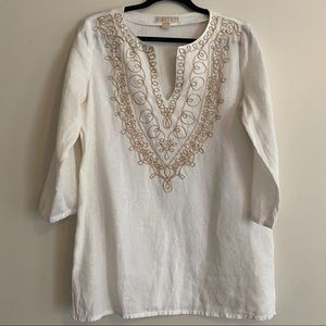 Michael Kors White Linen Tunic w/ Embroidered Neck